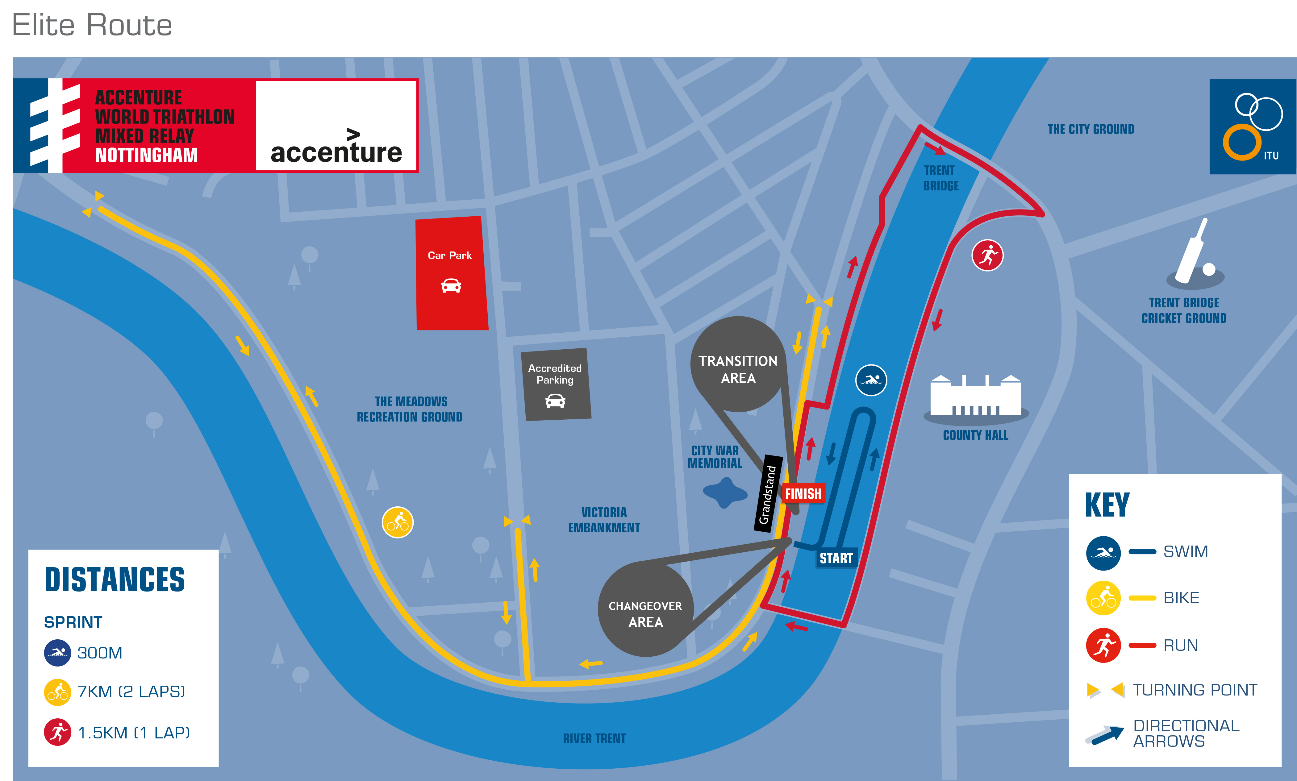 Course Maps - Accenture World Triathlon Mixed Relay Nottingham
