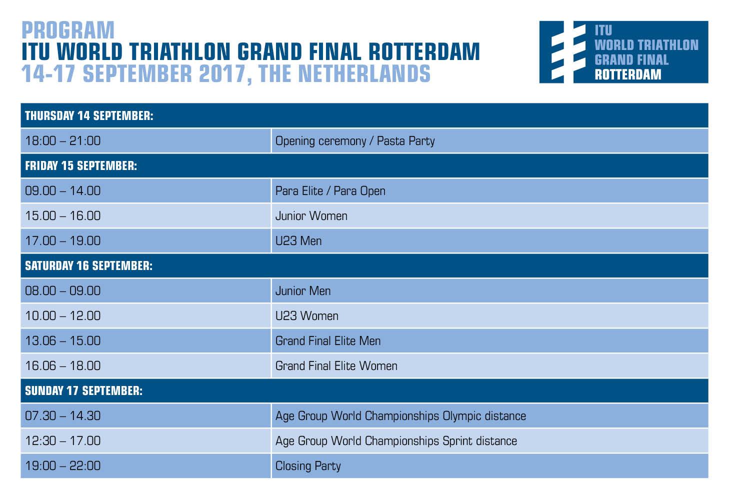 Tentative program ITU World Triathlon Grand Final Rotterdam